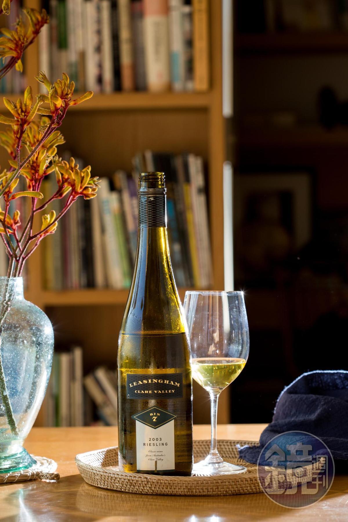 「 Leasingham Bin 7 Riesling, Clare Valley, Australia,2003」,活潑芬香好像萊姆汁。(長榮酒專停止代理,林裕森私人藏酒)