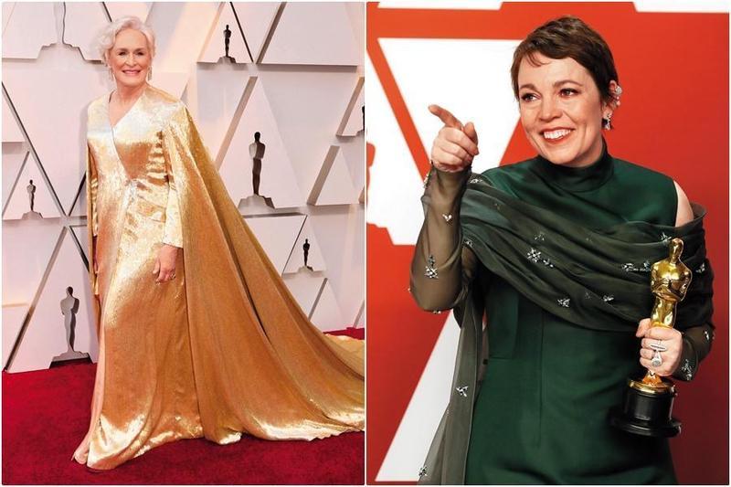 來自英國的喜劇女星奧莉薇亞柯爾曼(右)大爆冷,逆轉勝了呼聲最高的葛倫克蘿絲,拿下第91屆奧斯卡影后。(東方IC)