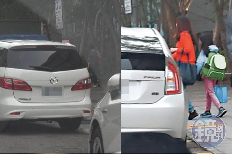 林女帶著女兒坐上黃男白色馬自達座車,將女兒送至國小上學。