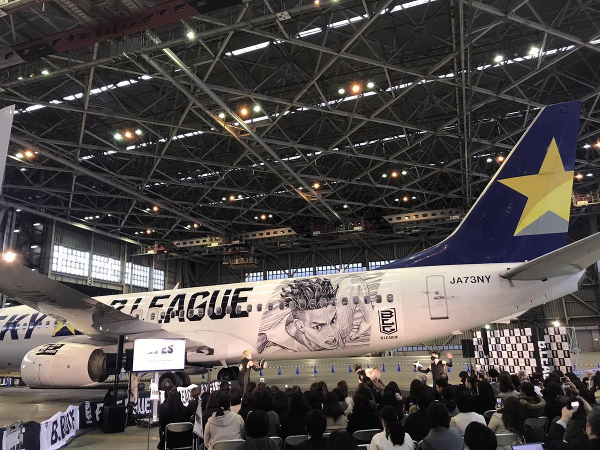 機身左側,漫畫角色是專為B聯賽所設計。(翻攝自sn_basketball Twitter)
