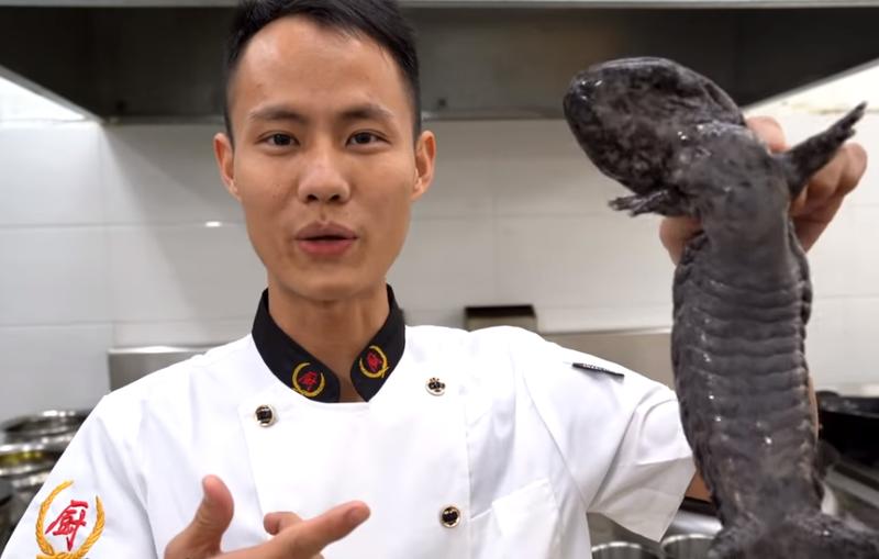 中國網紅王剛示範紅燒娃娃魚,卻意外掀起保育類論戰。(翻攝自美食作家王剛Youtube)