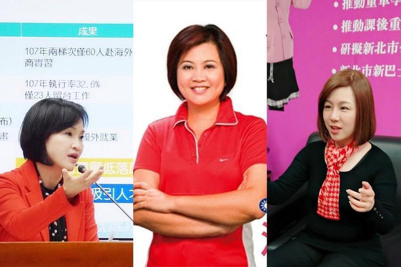 由左至右為柯志恩、江惠貞、劉美芳。2020立委選舉,板橋將有機會上演「三個女人的戰爭」。(合成照片)
