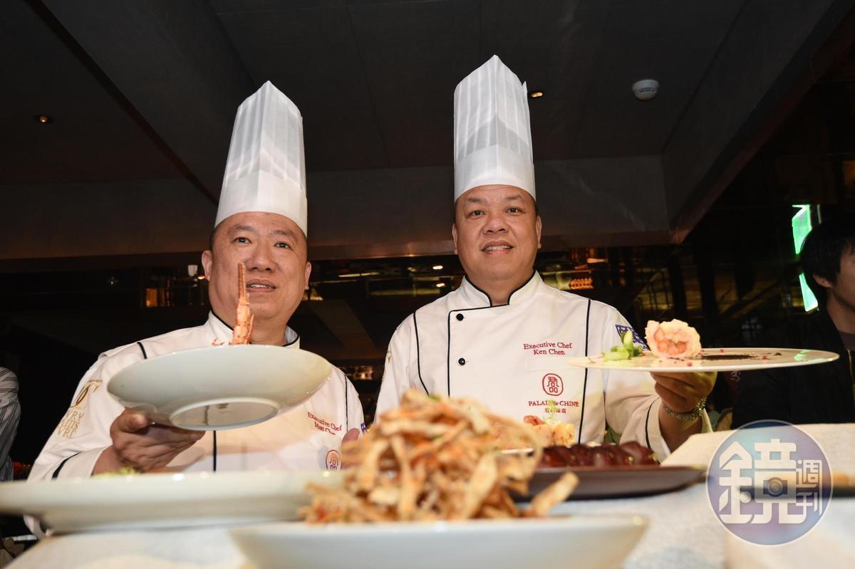 頤宮中餐廳兩位行政主廚陳偉強(右)、陳泰榮(右),是台灣目前唯二為餐廳奪得米其林三星的大廚。