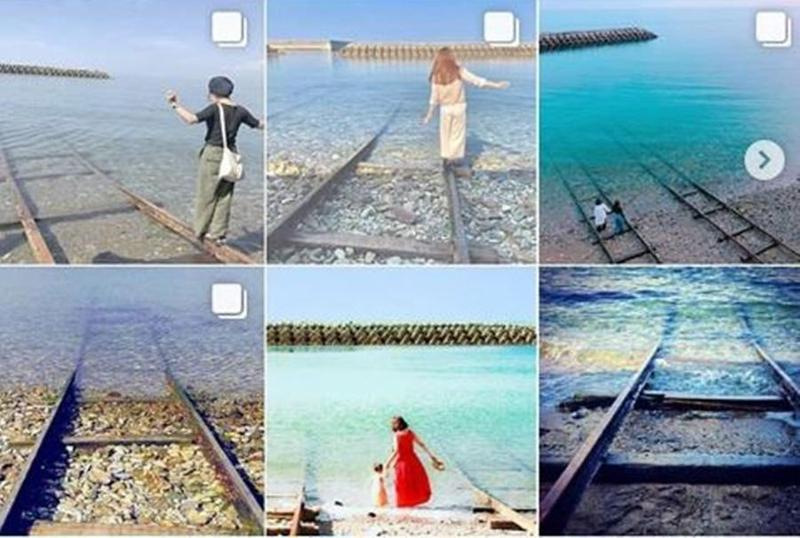 許多民眾慕名前去下灘站取景拍攝像《神隱少女》內海上鐵路的景色,卻造成當地人的困擾。(翻攝自leonis_fj Instagram)