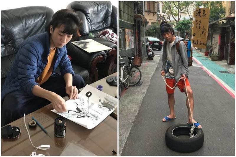 日本版畫家野口龍平自今年2月初抵台,發下豪語要拖著輪胎徒步,展開0元環島。(翻攝自のぐ / タイヤひっぱり推特)