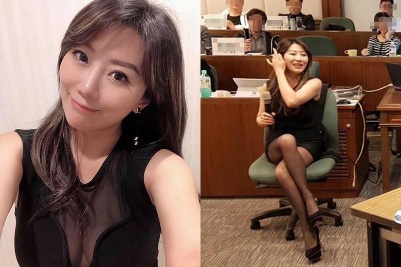 佩甄昨(14日)曬出身穿薄紗深V洋裝去上課的照片,讓網友噴鼻血。(擷自李佩甄臉書)