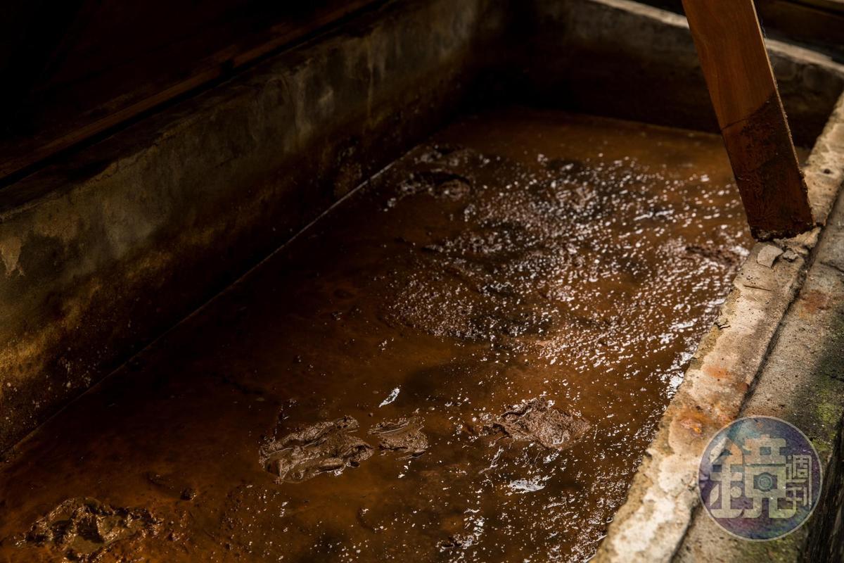 醃製近2年的槽內已僅存褐色泥狀。