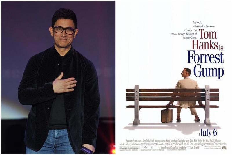 印度影星阿米爾罕(左圖)宣布將翻拍美國經典電影《阿甘正傳》(右圖)。(東方IC/翻攝自IMDb)