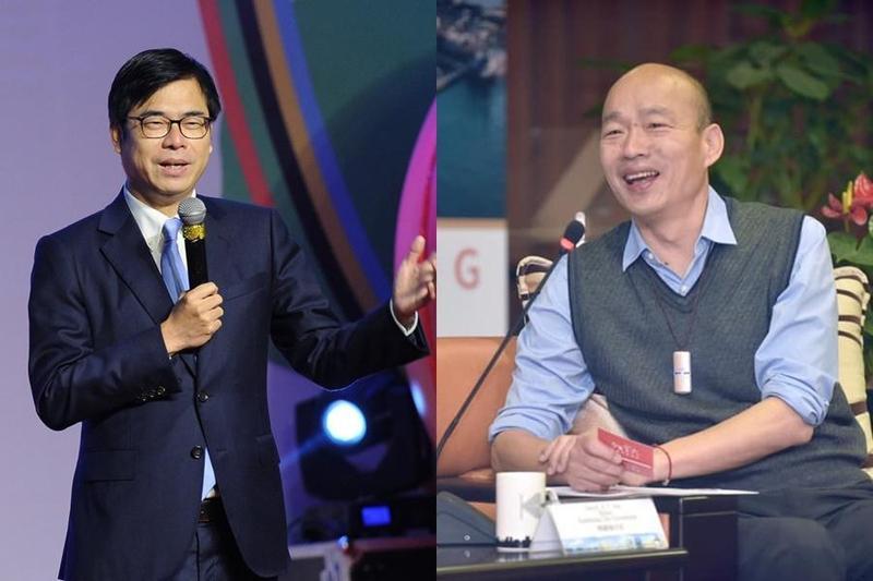 行政院副院長陳其邁與高雄市長韓國瑜為兩岸問題隔空交火。(合成圖,翻攝自陳其邁、韓國瑜臉書)
