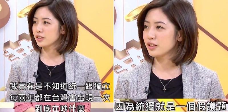 學姊黃瀞瑩上政論節目脫口「統獨就是一個假議題」,引發現場來賓一陣唇槍舌戰。(年代向錢看youtube)