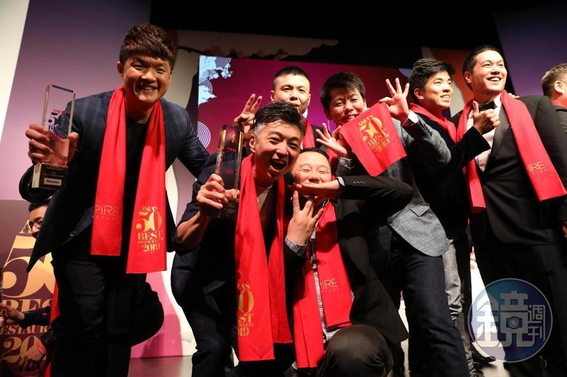 台灣今年有(左至右)「JL Studio」「MUME」「RAW」「祥雲龍吟」4間餐廳入選亞洲50最佳餐廳榜單。
