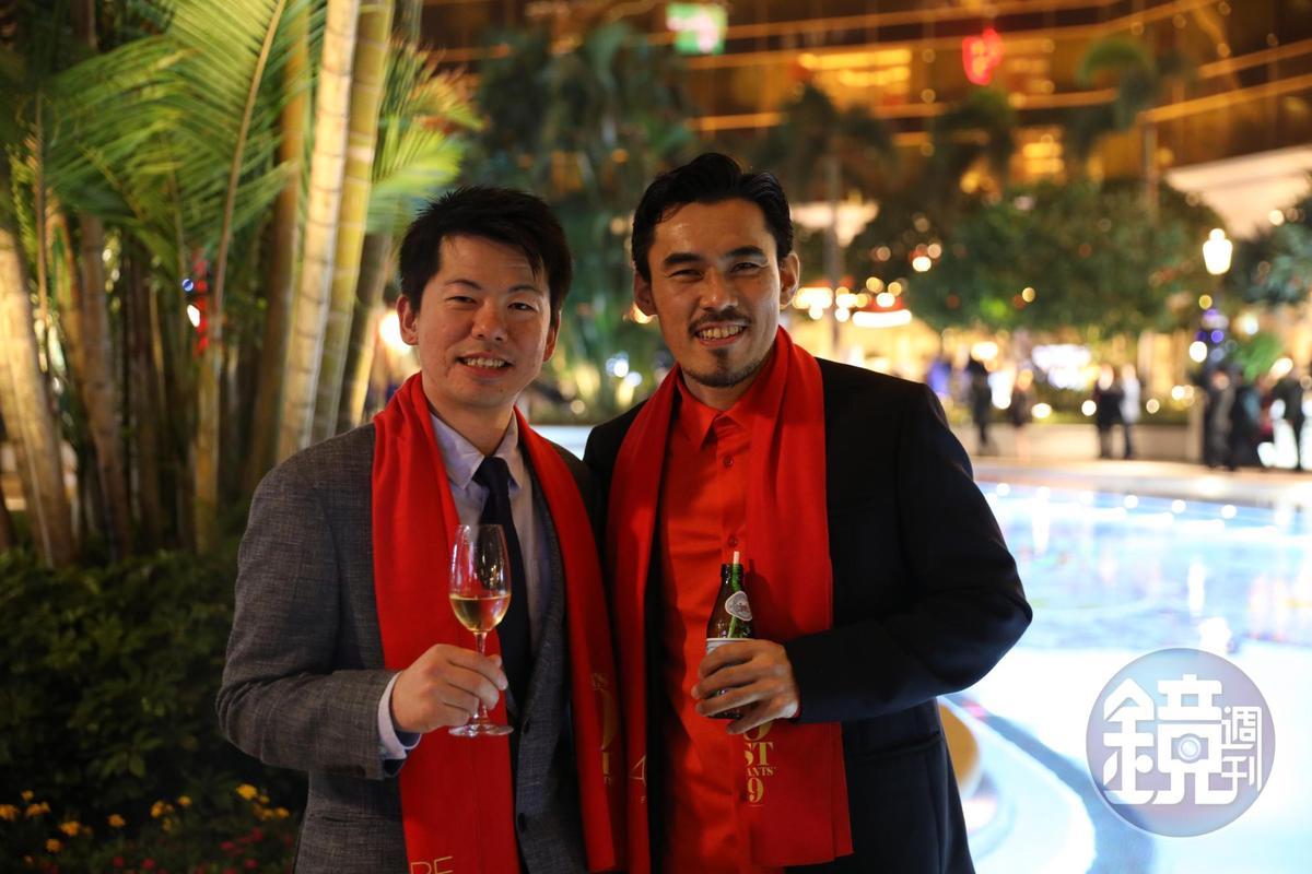 「祥雲龍吟」主廚稗田良平(左)與師兄「Ta Vie」主廚佐藤秀明(右)皆名列榜中。