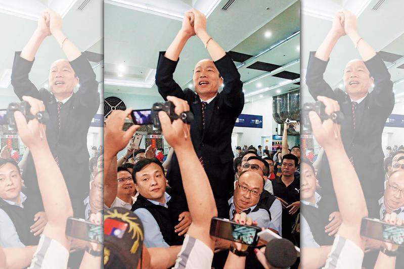 韓國瑜日前結束訪中行程,上百名韓粉力拱「選總統」,韓雖表態不考慮參選2020,但黨內高層透露確定會將他納入初選。(高雄市政府提供)