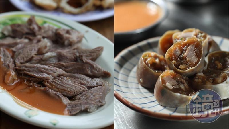 宜蘭高人氣老店「火生餛飩麵店」的超嫩「豬頭肉」(左,50元/份),與「正雄小吃部」的Q滑粉腸(右,30元/份)都是佛心銅板價。