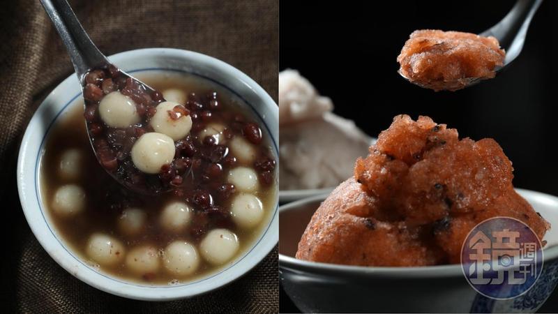 「羅東紅豆湯圓」的「紅豆湯圓」吃完會想念(左,35元/碗)。「金味坊豆花」的「李鹹冰」會將配料和剉冰拌勻,每一口都能吃到配料。(右,40元/碗)