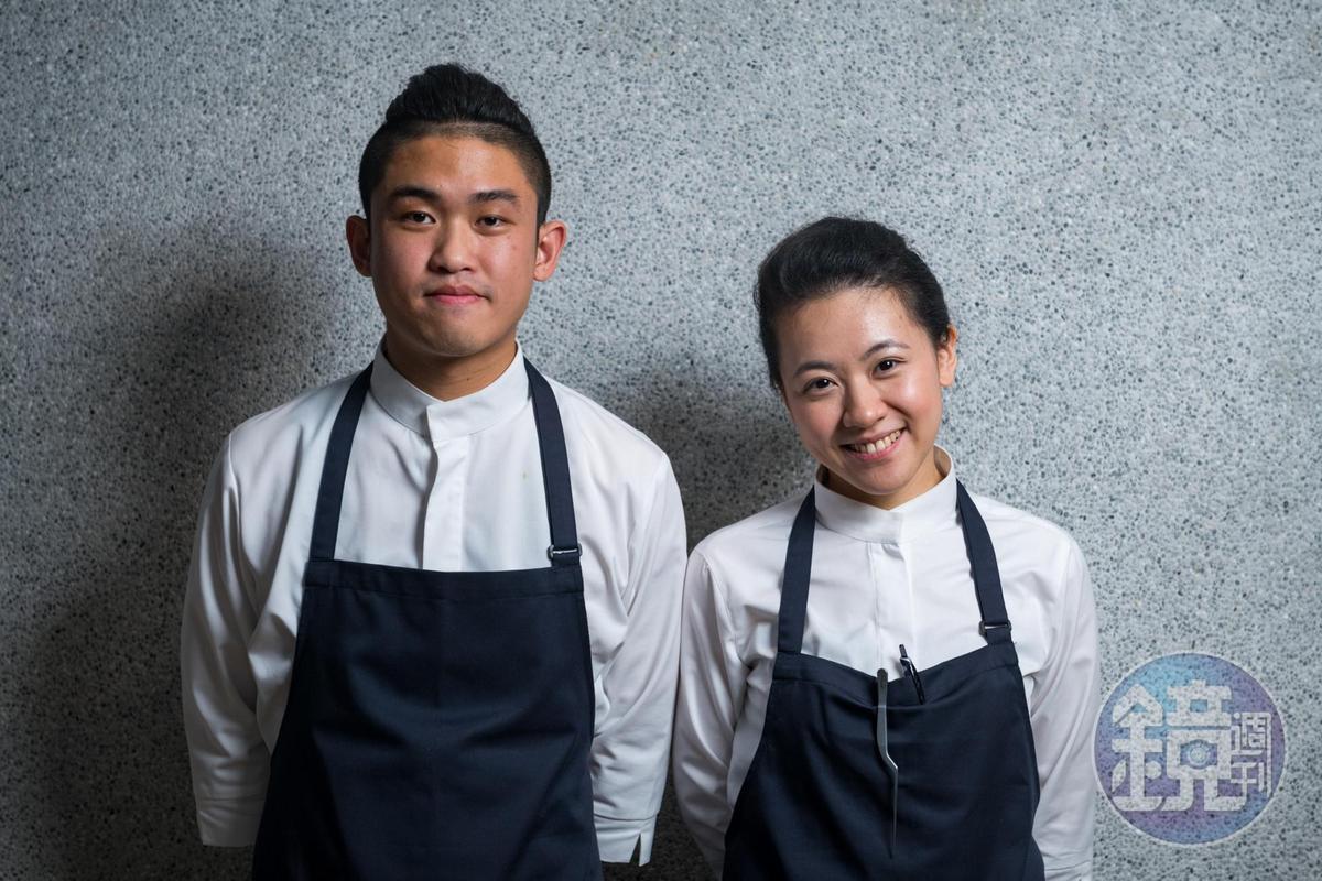 曾任亞都麗緻巴黎廳副主廚的傅昭蓉(右)與現正在英國米其林三星餐廳「Fat Duck」工作的男友魏宏丞(右)共同打造STAGIAIRE的餐飲風格。