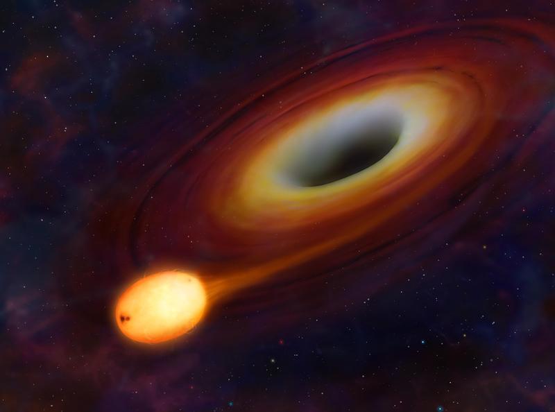 圖為藝術家眼中的黑洞形象,藝術家心中的黑洞是一不斷吸收周圍物質,增加自己質量的鬼魅天體,描繪黑洞正吞噬一顆恆星。