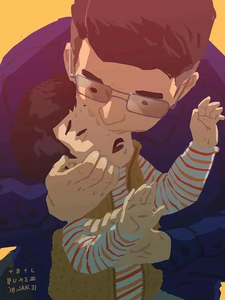 用嘴幫兒子吸鼻涕的畫作引起網友討論。(圖:Blue提供)