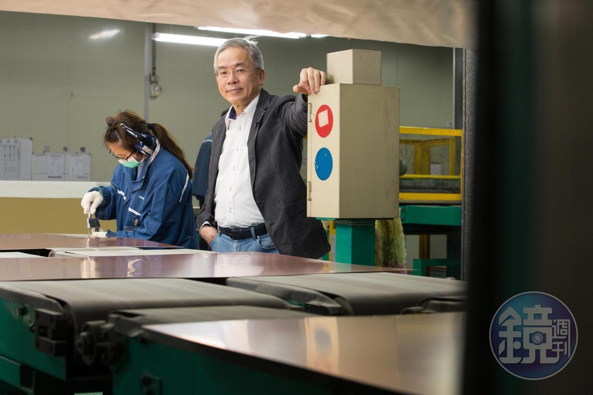 勞開陸6年前出任騰輝電子董事長,靠著獨到眼光布局,帶領騰輝電子轉虧為盈。