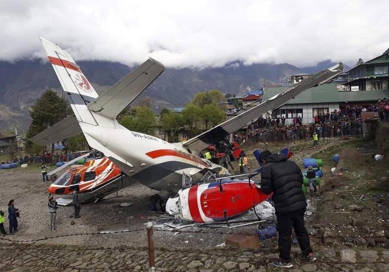 尼泊爾盧卡拉的丹增希拉瑞機場昨(14日)發生飛機失事意外。(東方IC)