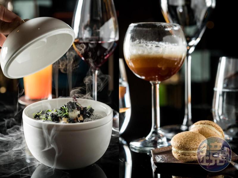 臭豆腐(左)、鳳梨苦瓜雞和薑母鴨(右),在「Daimon.犇 廚魔館」都變成令人驚奇的分子料理。