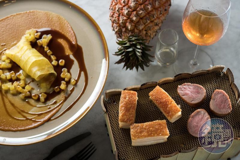 「The Tarvenist」主廚James Sharman自製烤肉架,煙燻豬肉搭配鳳梨醬紀念在台南旅遊的美好回憶。