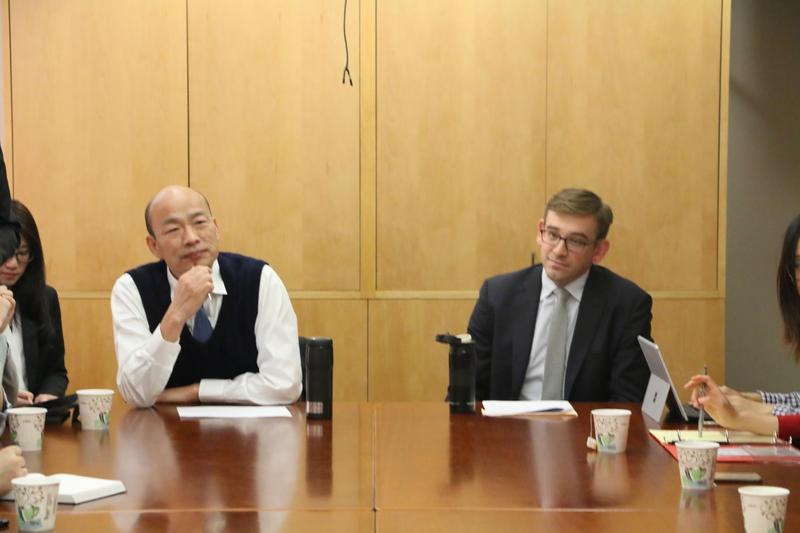 高雄市長韓國瑜赴美到史丹佛大學發表演說。(高雄市政府提供)