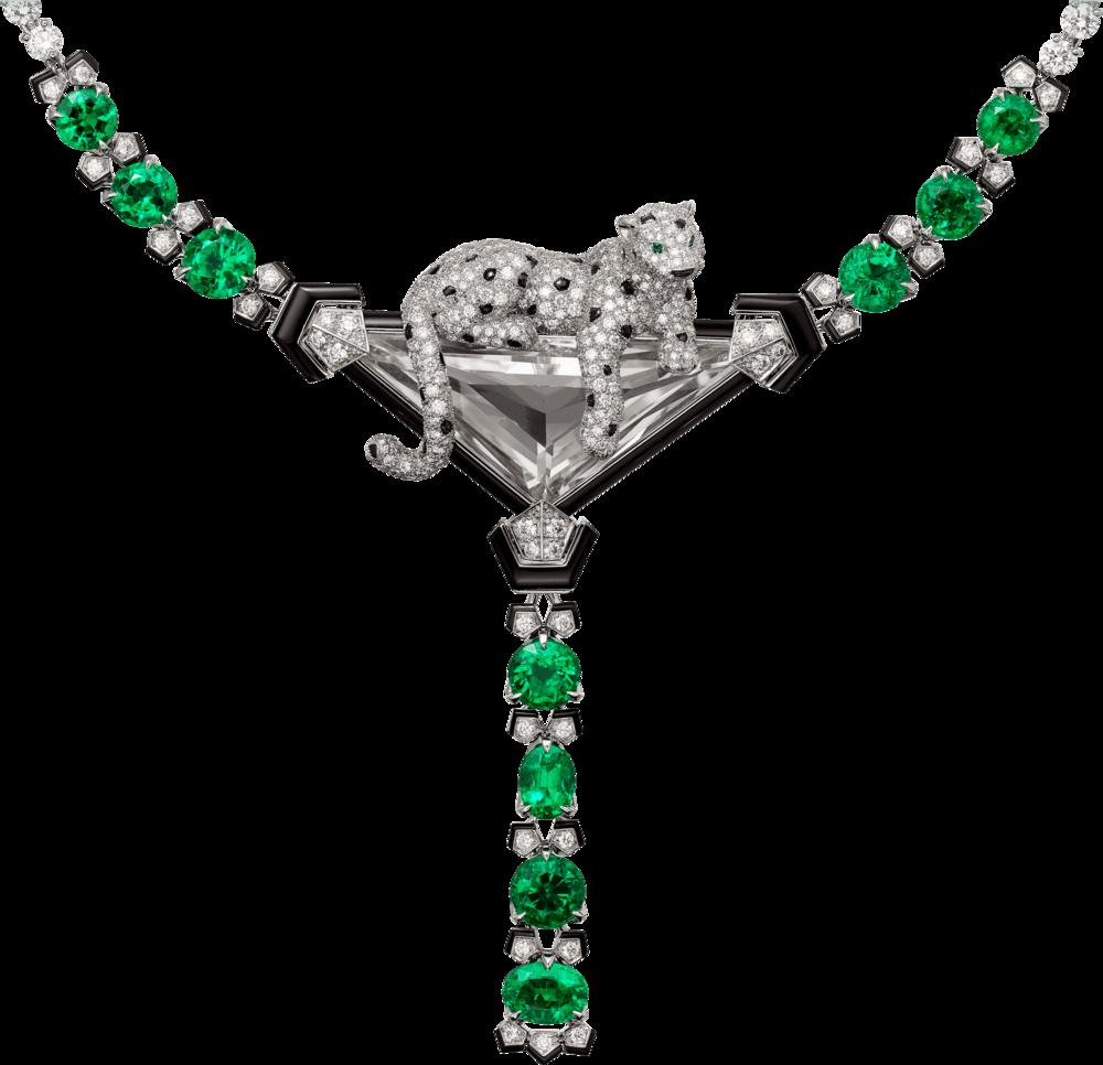 可依單獨配戴的美洲豹項鍊與胸針。約NT$49,700,000(卡地亞提供)
