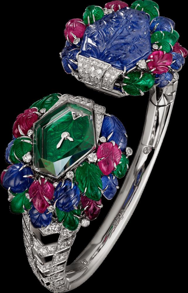 卡地亞KUBERA腕錶與胸針,以可變換功能展現工藝。約NT$33,900,000 (卡地亞提供)