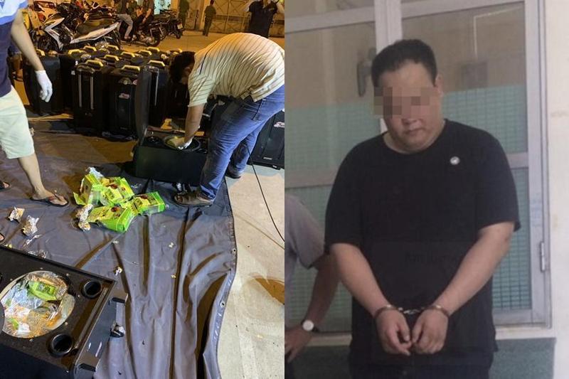 越南警方發現一輛貨車上藏有大量毒品,並逮捕協助運毒的葉姓男子。(刑事局提供)