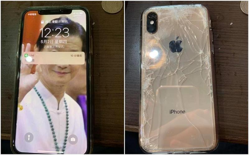 原po撿到「Seafood加持」手機,整支iPhone幾乎毫髮無傷,只有背面的保護貼摔成蜘蛛網狀。(翻攝自爆廢公社)