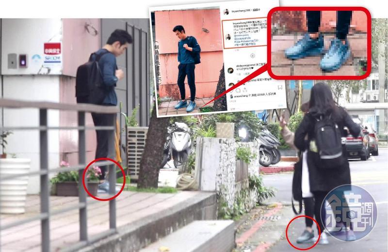 3月22日12:18,換上私服的歐陽妮妮(右二)熱愛攝影,幫張書豪(左)拍照,非常兩小無猜。張書豪迅速把歐陽妮妮幫自己拍的照片上網,腳上就是跟歐陽妮妮的情侶鞋。