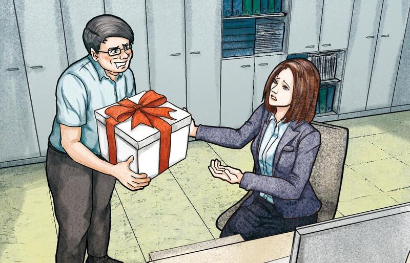 黃奕墉單身,常對女同仁獻殷勤,不時噓寒問暖外,還會硬送小禮物,女同事一旦收下,便會被傳和他交往。(示意畫面)