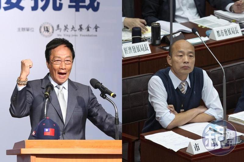 鴻海集團董事長郭台銘昨(14日)晚在臉書發文表示,「我當總統,韓國瑜大可放心發展高雄」。(合成照)