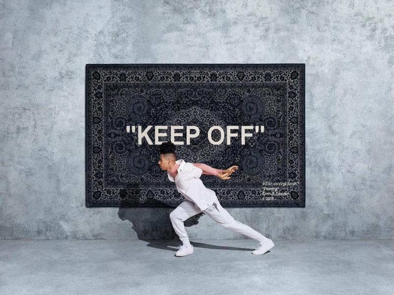 就是這款Off-White聯名款的地毯,引起民眾瘋搶。(翻攝自IKEA官網)