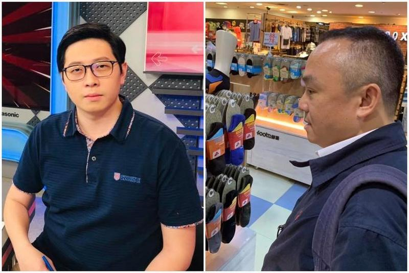 高雄市觀光局長潘恒旭(左)昨晚貼文,路過桃園市議員王浩宇(右)的除臭襪店「增加營業額」。(翻攝自王浩宇/潘恆旭臉書)
