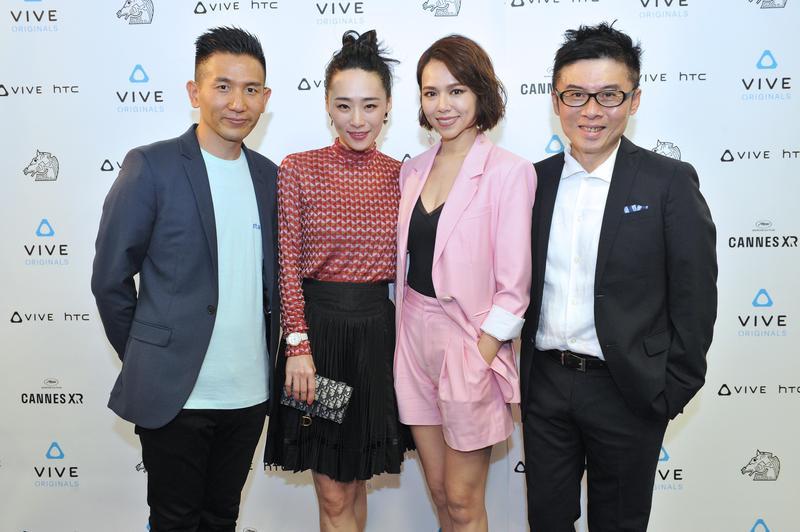 導演趙德胤(左起)、吳可熙、夏于喬、HTC VIVE ORIGINALS總經理劉思銘,一起參加VR電影《5x1》的坎城首映。(HTC提供)