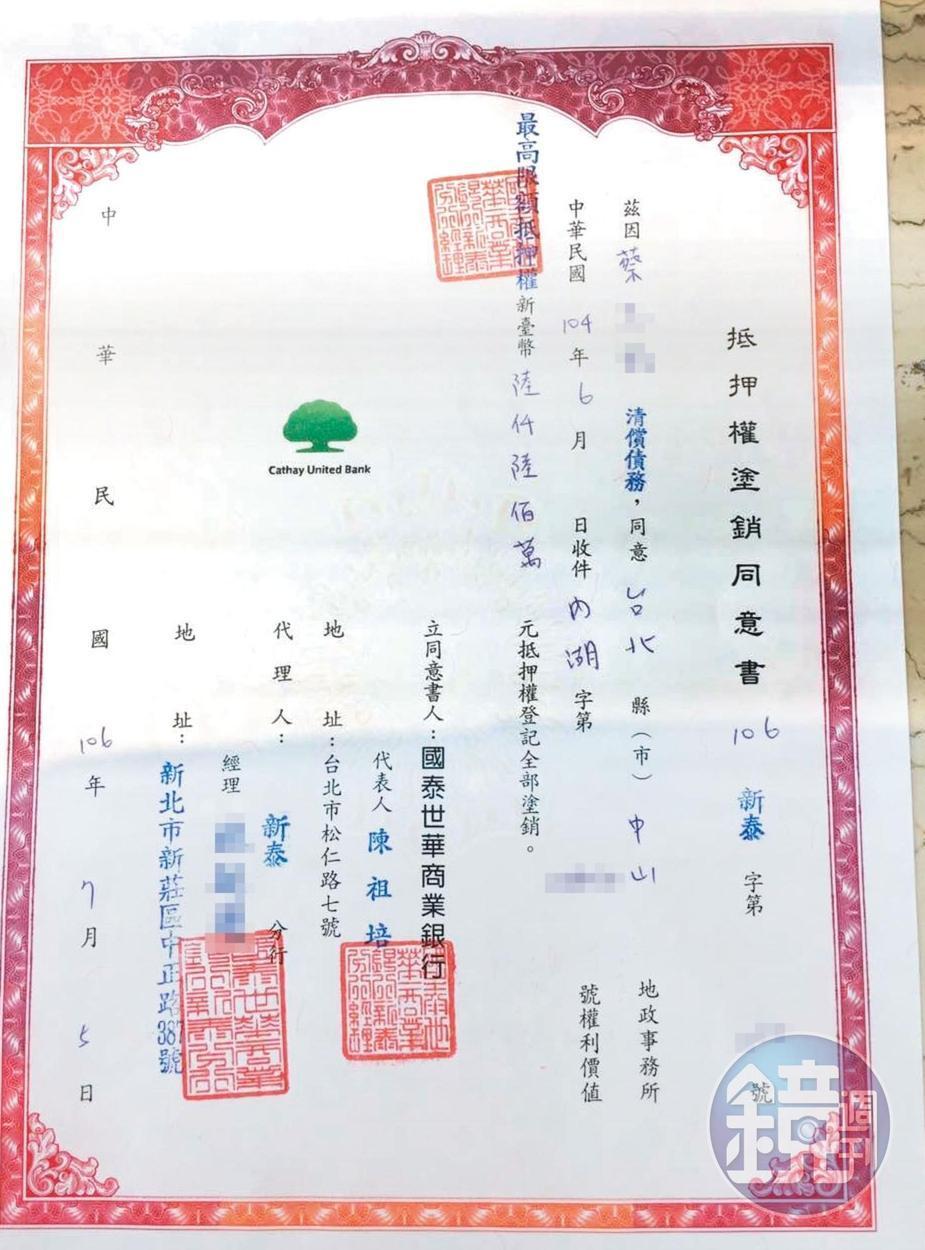 蔡姓建商為了買徐乃麟的豪宅向銀行貸款6,600萬元,全被徐拿走,房屋也未點交。(當事人提供)