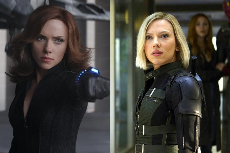 史嘉蕾在《美3》(圖左)與《復3》(圖右)分別是紅棕髮與金髮,有粉絲推測她的髮色變化原因有可能也是個人電影中的情節。(合成圖片,迪士尼提供)