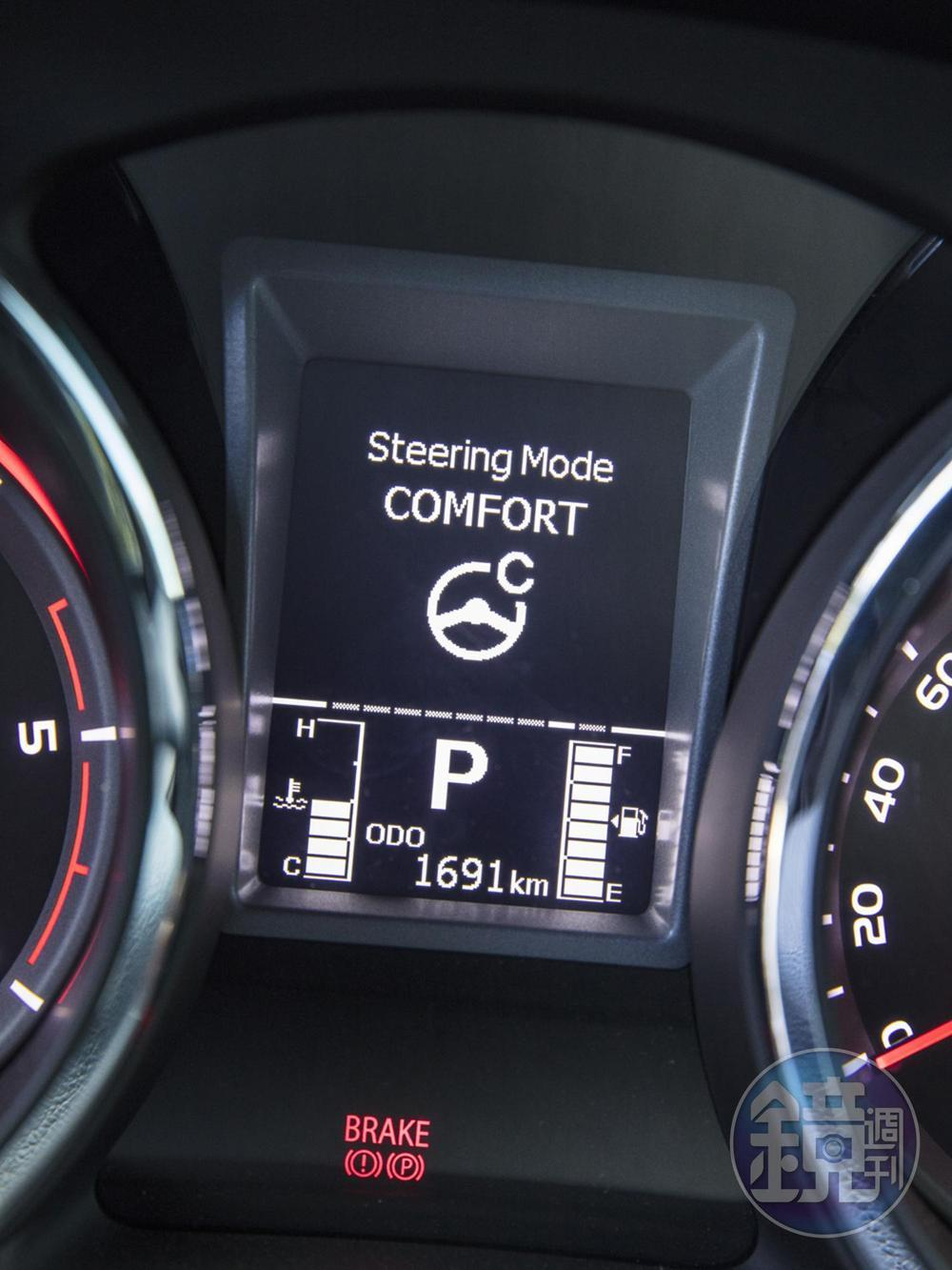 方向盤具有Normal、Comfort、Sport共三種模式的EPS電子動力輔助,可隨個人的喜好與當時的路況獨立設定。