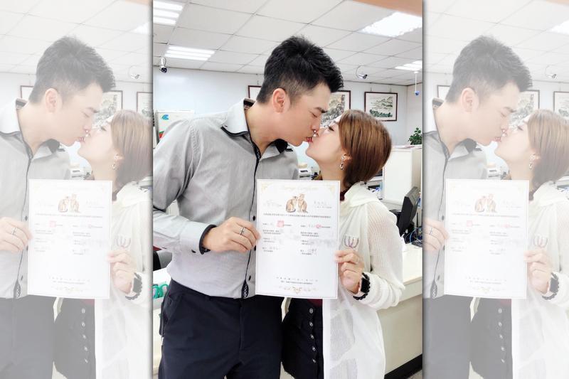 林匯喬在IG中,開心宣布與阿翔登記結婚。(翻攝自林匯喬IG)