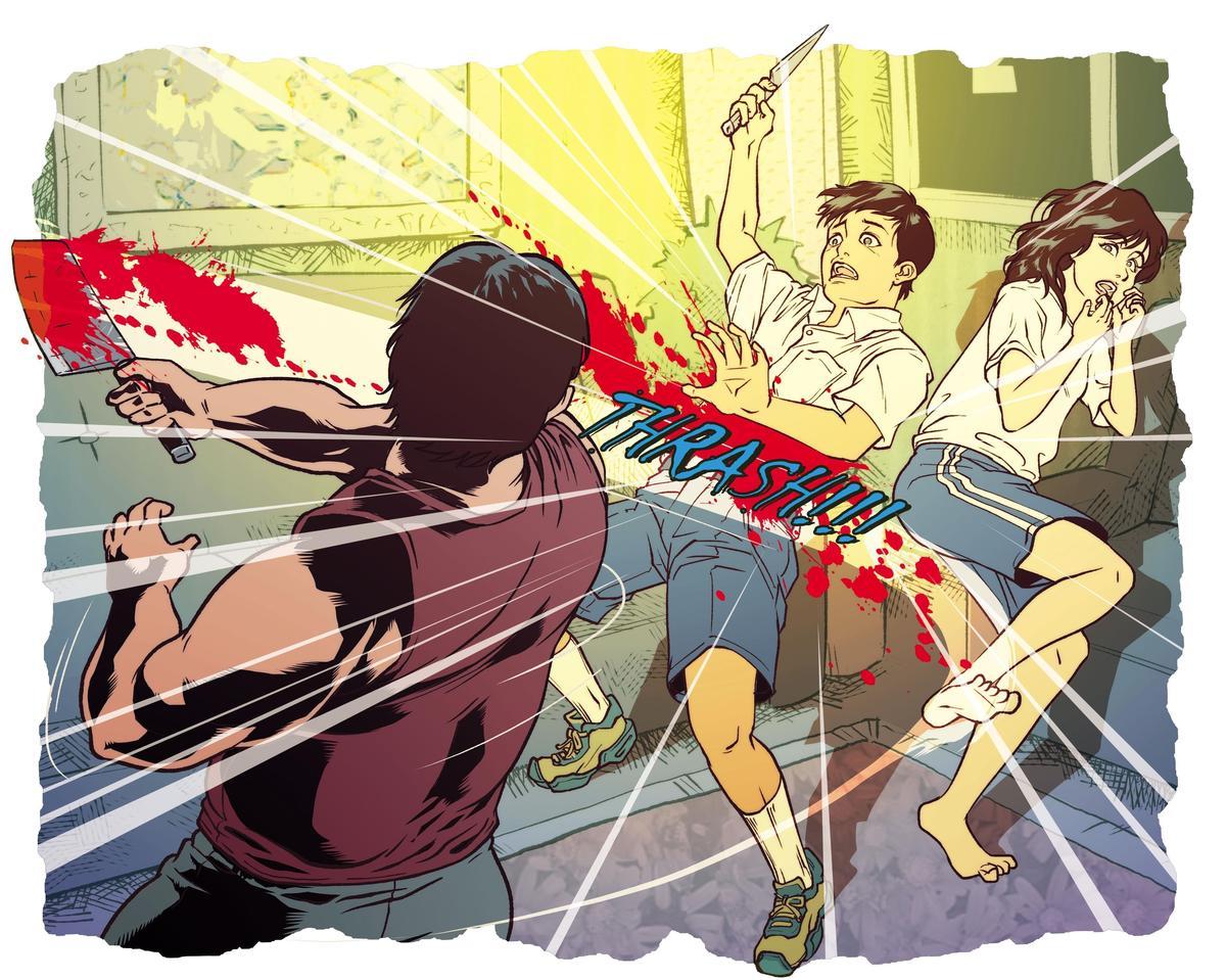 刀砍大弟:朱建華殺害女友小弟後,又拿菜刀砍殺女友大弟。
