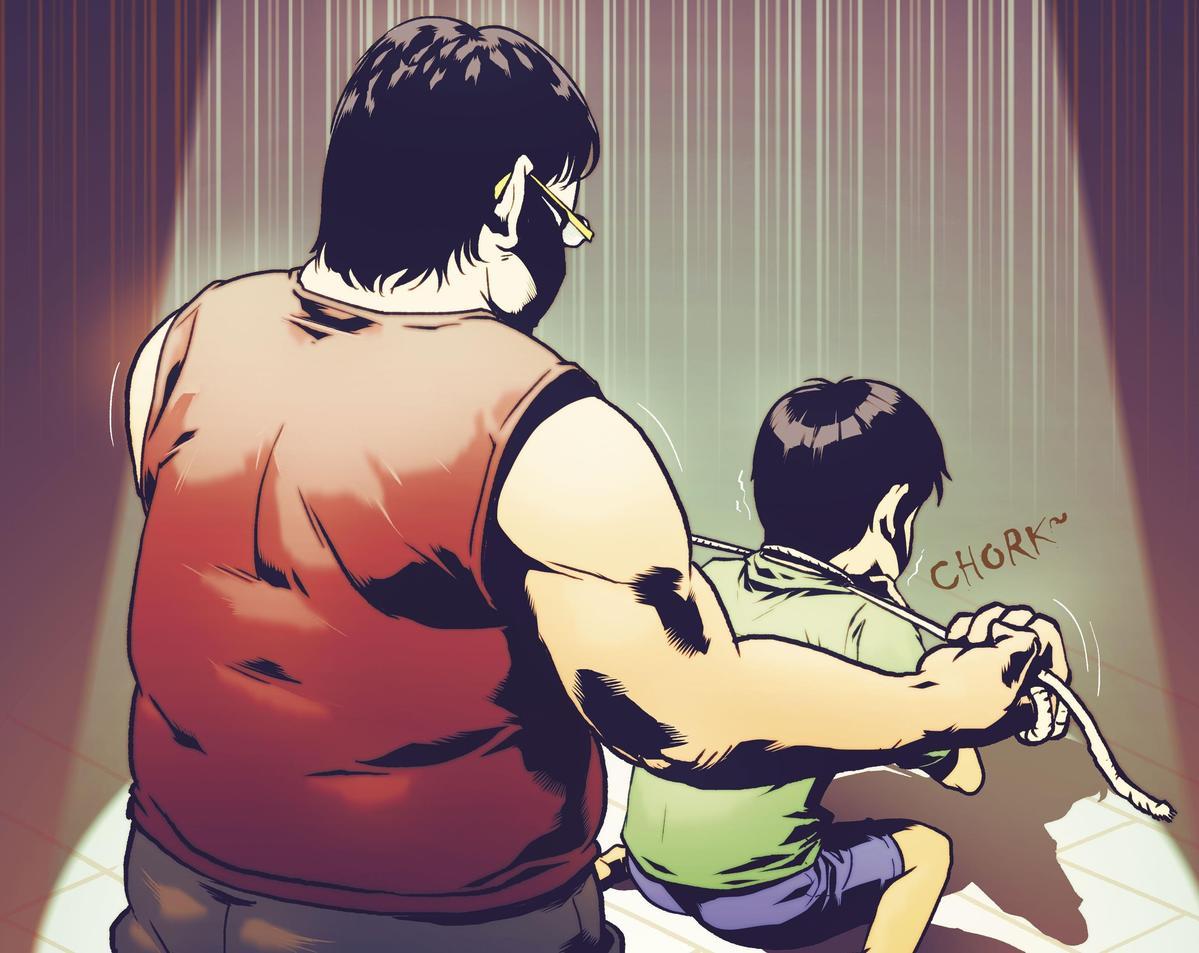 繩勒小弟:朱建華用童軍繩勒住女友小弟的脖子,想置他於死地。