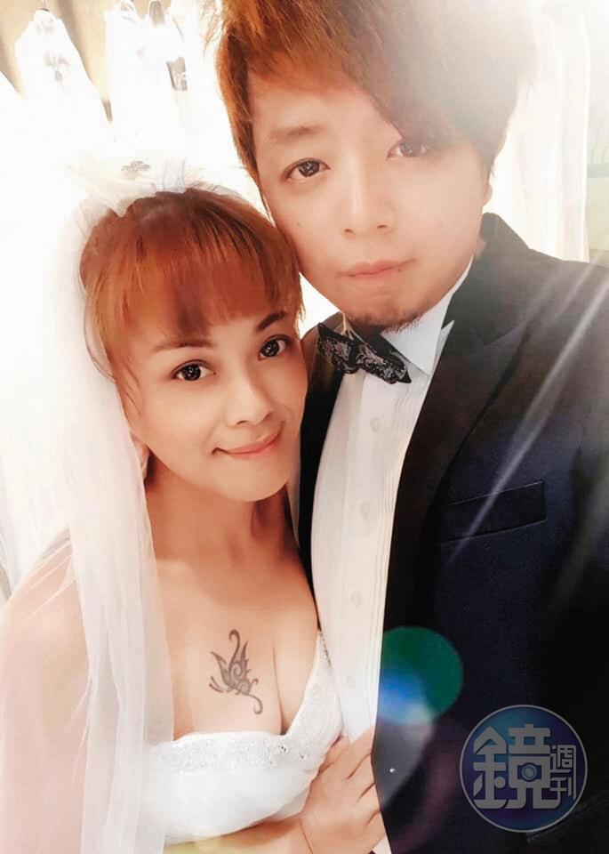 林詩潔與董耀文早有結婚共識,交往期間就曾拍婚紗。她胸口的蝴蝶,是與前夫離婚後刺的。(林詩潔提供)