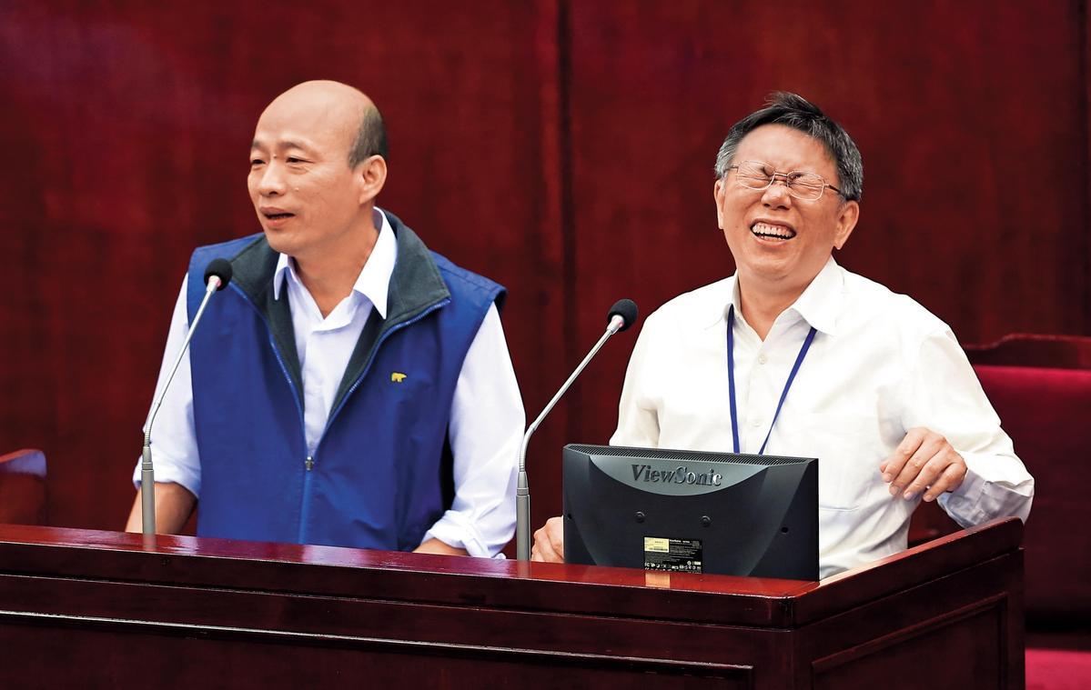 韓國瑜(左)任北農總座時曾與柯P(右)同台備詢,還稱柯對他有知遇之恩,不少人認為2人終須一戰。(聯合知識庫)