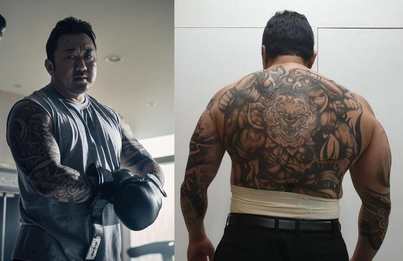 馬東石在《極惡對決》身上的半身刺青請來專業美術設計,從40個方案中選出。(威視電影提供)
