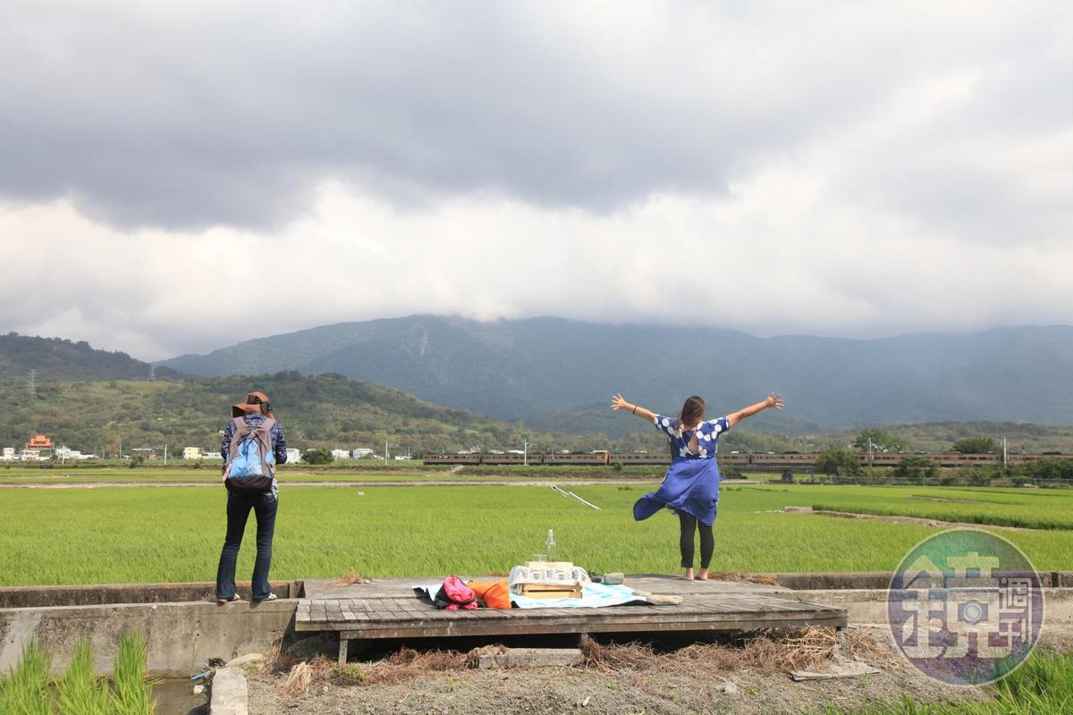 因鄰近火車站,在田埂中可看到火車駛過的景象。