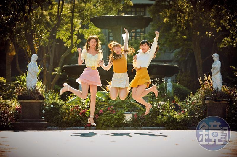 成軍三年的AKB48 Team TP,由隊長陳詩雅(中)率領日籍團員阿部瑪利亞(左)及研究生周佳郁(右)等進攻演藝圈,青春洋溢。