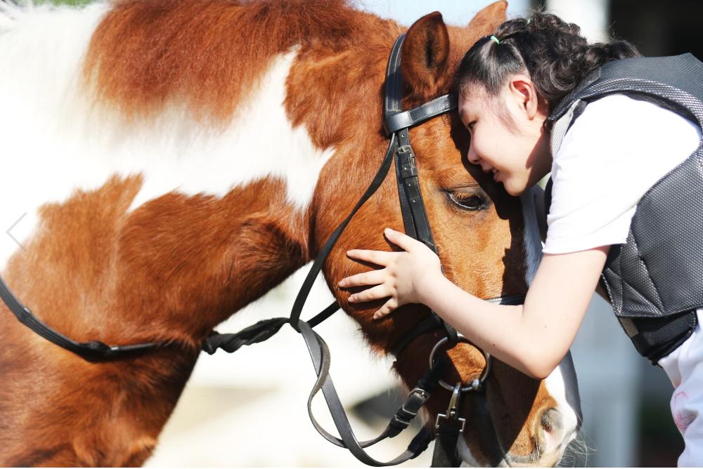 比起在醫院做復健,在馬場騎馬做馬術治療,和馬兒互動,孩子的喜悅全寫在臉上。(張兆遠提供)