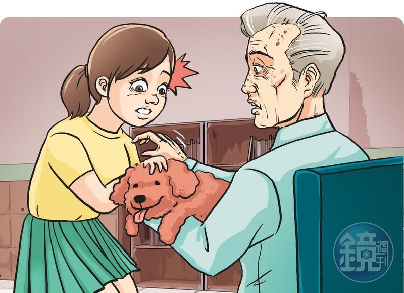 台中一名安親班男老師抱狗引來女童親近,卻趁機將另一隻手伸入女童衣服內摸胸,行徑惡劣。